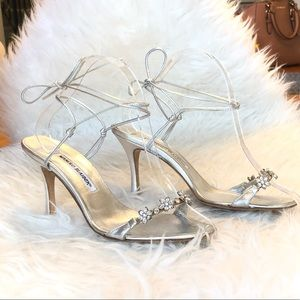Manolo Blahnik Crystal-Embellished Silver Sandals